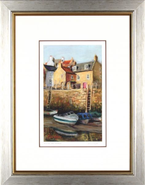 Gina Wright_SIgned Edition Print_Low Tide, Crail Harbour_image 11x6.5_framed 21x16 (1)
