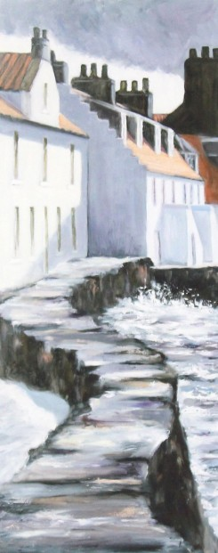Gina Wright_SIgned Limited Edition Print_Sea Wall Westshore, Pittenweem_image 20x8