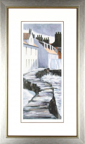 Gina Wright_SIgned Limited Edition Print_Sea Wall Westshore, Pittenweem_image 20x8_framed 30x18 (2)