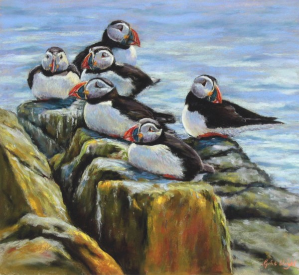 Gina Wright_SIgned Limited Edition Print_Six Puffins_image 16.5x18