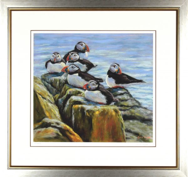 Gina Wright_SIgned Limited Edition Print_Six Puffins_image 16.5x18_framed 27x28.5