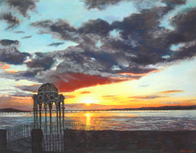 Gina Wright_SIgned Limited Edition Print_Sunset Over The Tay Bridge_image 12x15