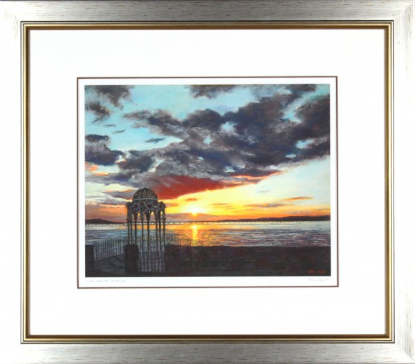Gina Wright_SIgned Limited Edition Print_Sunset Over The Tay Bridge_image 12x15_framed 22.5x15.5