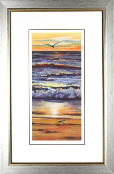 Gina Wright_SIgned Limited Edition Print_Waves At Sunset_image 16x7.5_framed 26x17.5