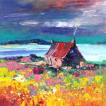 Kevin Fleming_Original Oils_Wee Cottage, Sunset, Kirkbost, North Uist_image 11.5x11.5