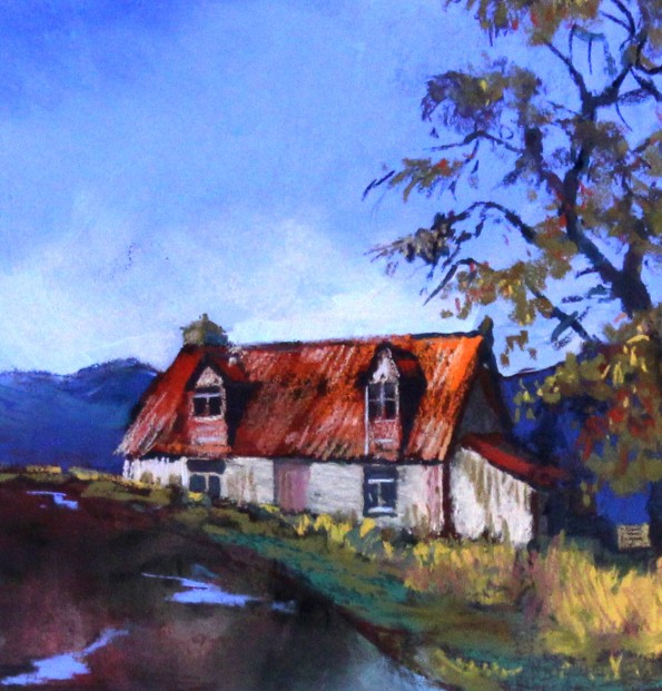 Margaret Evans_Original Pastel and Watercolour_Cairngorm Cottage_image 7x7