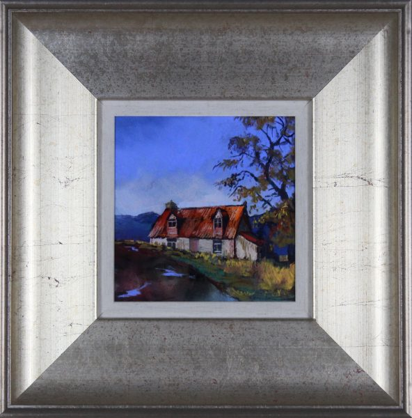 Margaret Evans_Original Pastel and Watercolour_Cairngorm Cottage_image 7x7_Framed 16x16