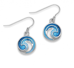 ORTAK silver drop earrings with enamel_Marine_EE496_2.4