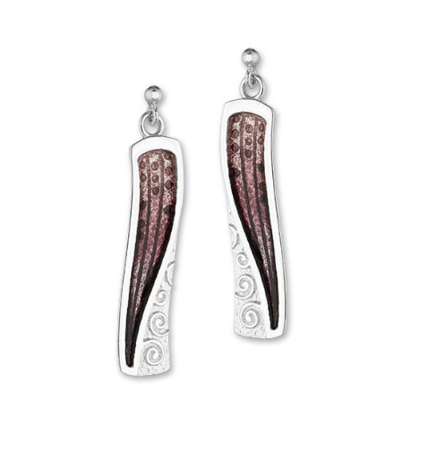 ORTAK silver drop stud earrings with enamel_mulberry_EE544.2.7