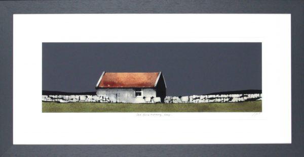 Ron Lawson_Signed Limited Edition Print_ Old Farm Building Islay_image 8x24.5_Framed 18x34.5