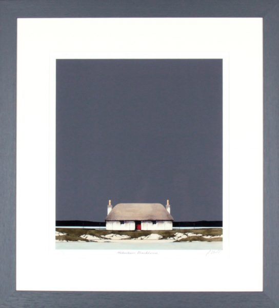 Ron Lawson_Signed Limited Edition Print_Hebridean BLackhouse_image 16x14_Framed 26x23.75