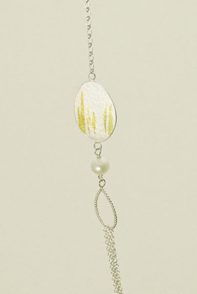 Silver Oval and Beaded Petal Necklace with Pearl and Keum Boo Gold Detail