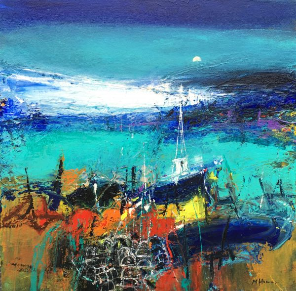 Nael Hanna_Boats and Creels, Mull, Mixed Media, 30x30 inch