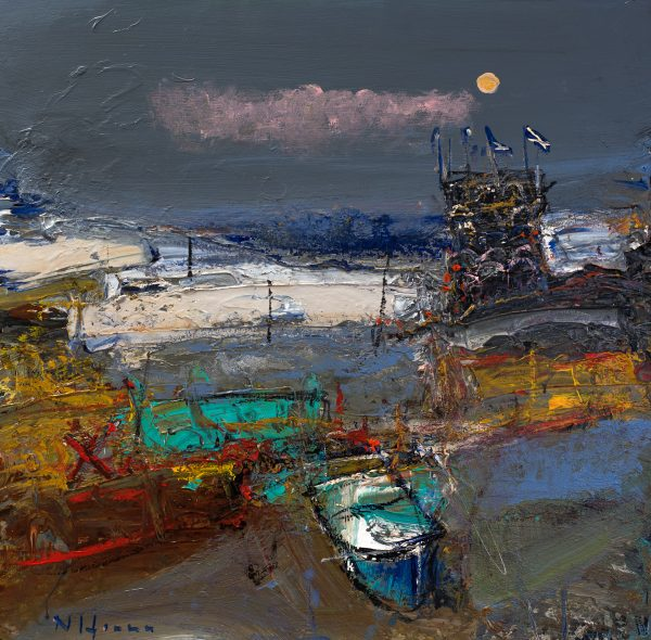 Nael Hanna_East Haven Creels with Moonlight_Mixed Media_23x22