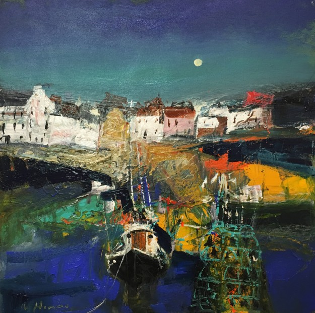 Nael Hanna_East Neuk Harbour, Mixed Media, 30x30 inch