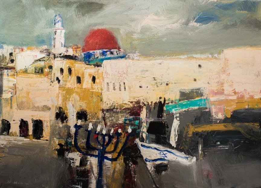 Nael Hanna_Jerusalem in Celebration_Mixed Media_39x55