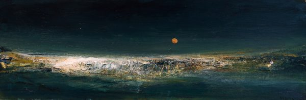 Nael Hanna_Moonlight over Anstruther_Mixed Media_12x30