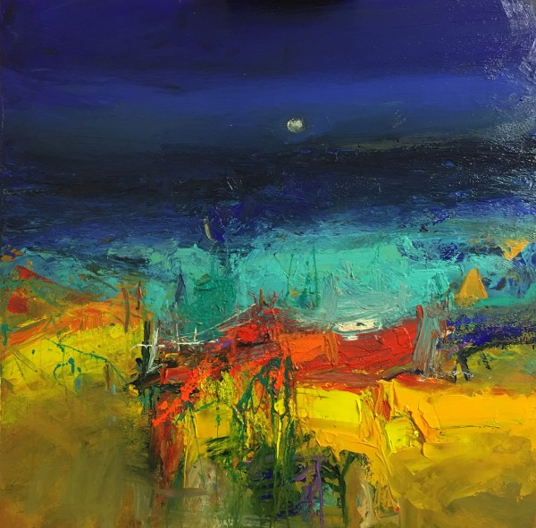 Nael Hanna_Mull Fishing Boats, Mixed Media, 30x30 inch