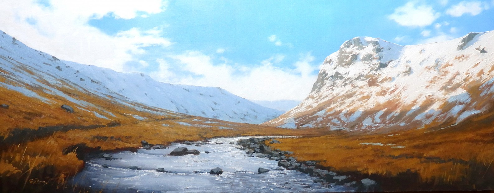 George Noakes_Winter, Glen Clova_Oils_16x40
