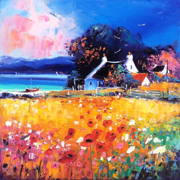 Jean Feeney_Drift of Wild Poppies, Arran_Oils_12x12