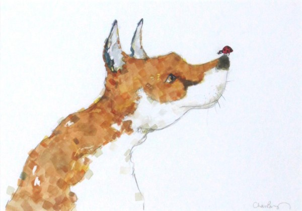 Charlotte Brayley_Original_Watercolour_The Fox and The Ladybird_image 11x16_framed 22x27_price 395 (2)