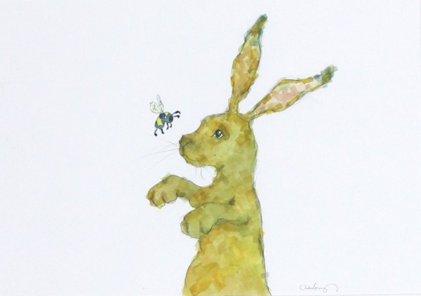 Charlotte Brayley_Original_Watercolour_The Hare and The Bee_image 11x16__price 395 (2)