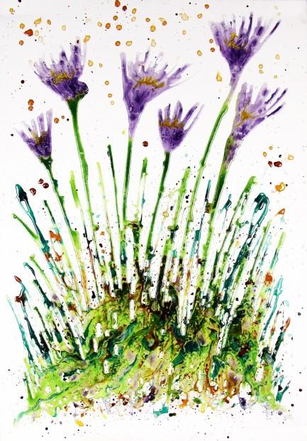 Derek Collins_Original on Canvas_Purple Fleur_image unframed 39 x 27.5_price 895