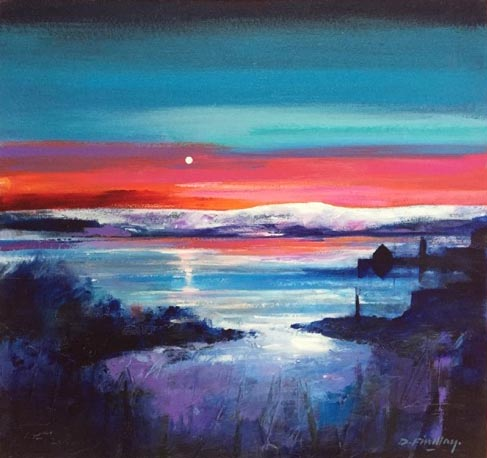 Dugald Findlay_HARBOUR MOON (mixed media) image size 20x19