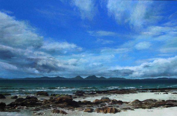 John Bell_Original_Acrylic_Jura from Cretshengan Bay, Knapp Dale_Image 24x 36_framed 32x44