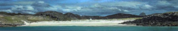 John Bell_Original_Acrylic_Suilven & Achnelvich Bay_Image 9x 48_framed 17x55
