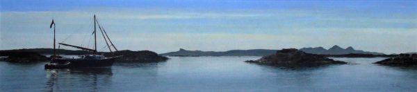 John Bell_Original_Acrylic_Yacht, Bunacaimb Near Arisaig_Image 11x 48_framed 18.5x55.5