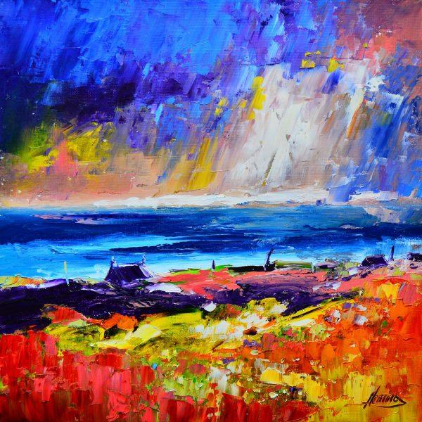 Kevin Fleming_Autumn Storm, Luskentyre, Harris_Oils_12x12