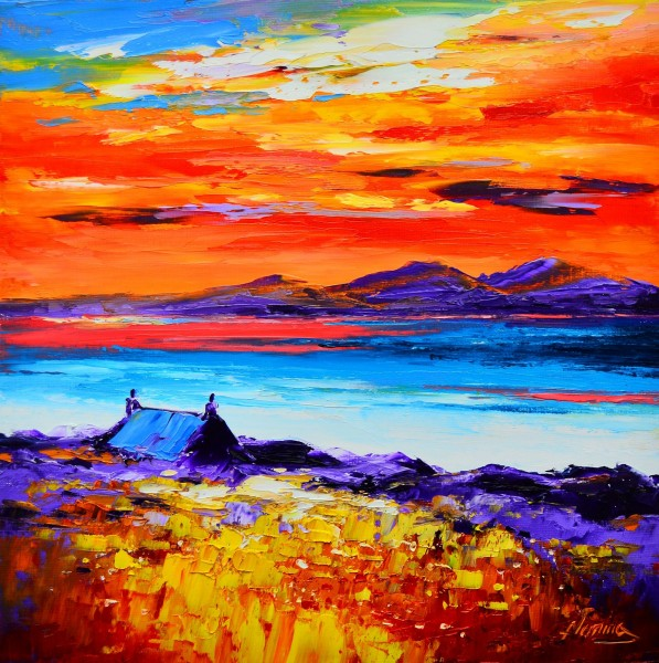 Kevin Fleming_Luskentyre Sunset, Harris_Oils_12x12