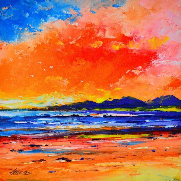 Kevin Fleming_Sunset, Luskentyre Beach, Harris_Oils_12x12