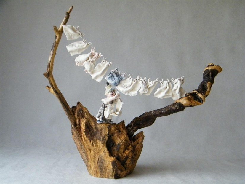 Maralyn Reed-Wood_Original_Driftwood with Porcelain Figures_Washing Line_14x13_price 225