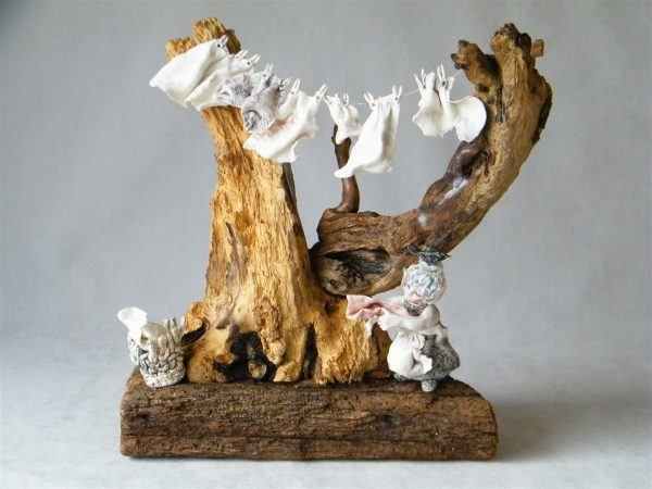 Maralyn Reed-Wood_Original_Driftwood with Porcelain Figures_Washing Line_19x19_price 225