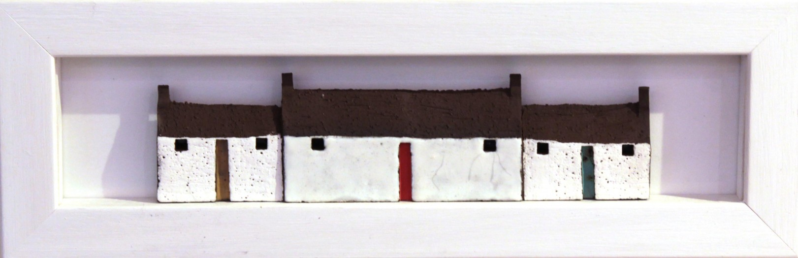 Pauline Montgomery_Original_Ceramics_Wee Houses Framed_4x12_185