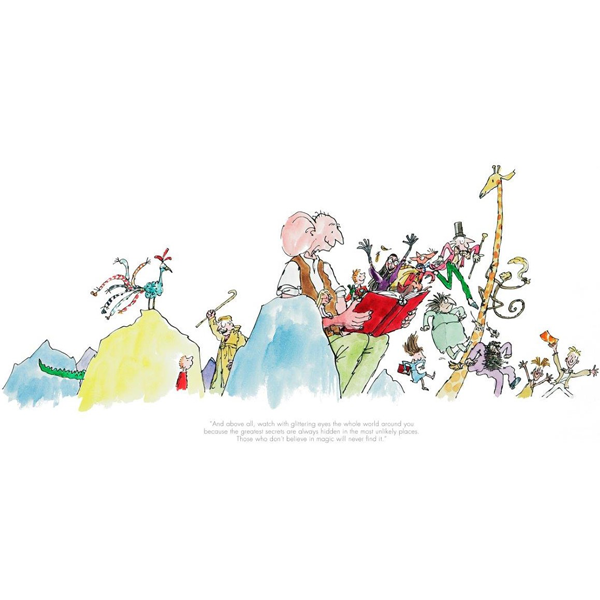 Quentin Blake, Roald Dahl_Big Friendly Giant_100th Anniversary Collector's Limited Edition Print_9x18_mtd195