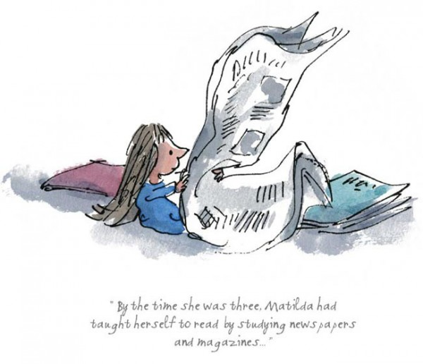 Quentin Blake, Roald Dahl_Matilda_By the Time She was Three_7.5x8_mtd 95