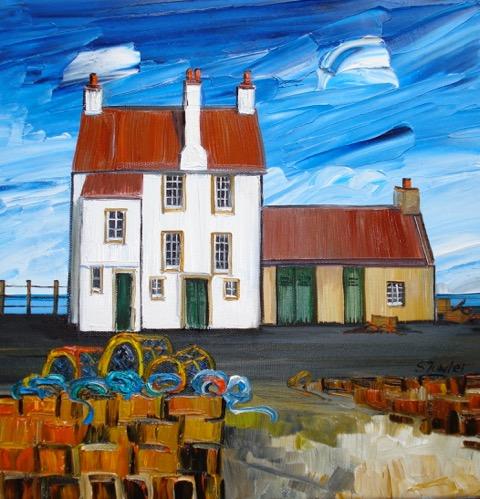 Sheila Fowler_ Lobster Pots Pittenweem, 12x 12 framed 17.75x17.75
