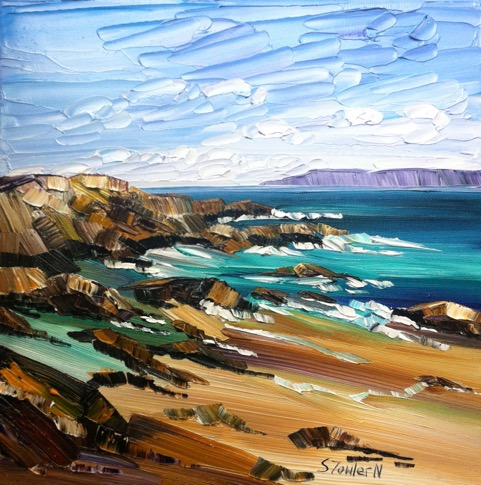 Sheila Fowler_Surf and Beach Rocks, Iona_12 x 12_ framed 17.75 x 17.75