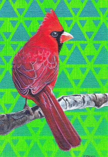 Stanley Bird_Cardinal on Branch_Acrylics