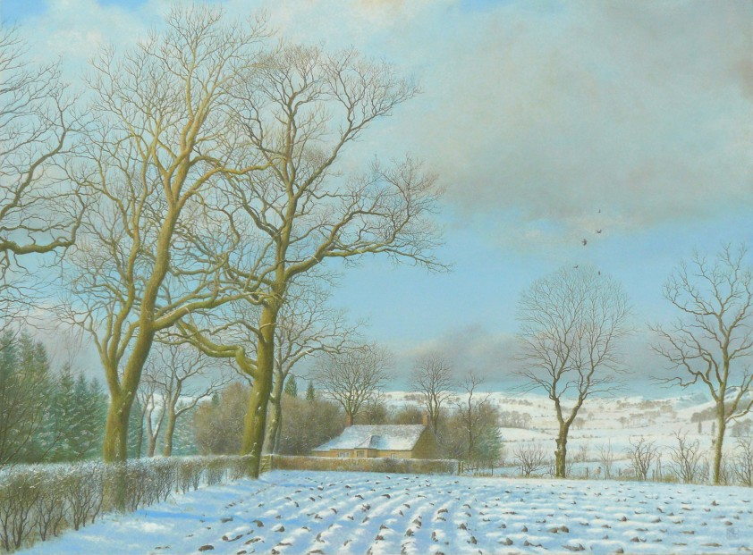 Alister Lindsay_Oils_Snow on the Strath_ image size 18.75 x 14