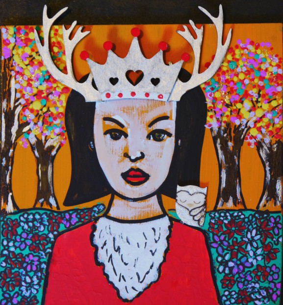 Ruby_Rae.Forest Queen.acrylics.mixedmedia.6x6inches.165
