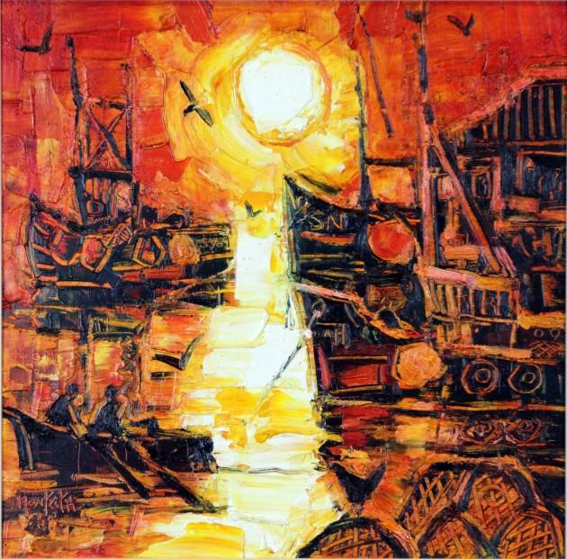 CMW_Original_Oils_Harbour Sunrise_image 14 x 14