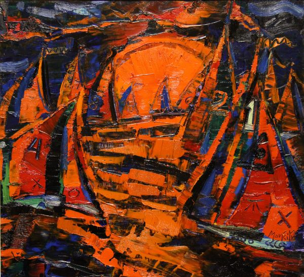 CMW_Original_Oils_Yachts at Sunset_ image 25.5 x 23.5