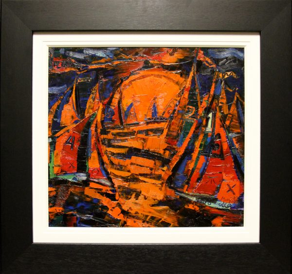 CMW_Original_Oils_Yachts at Sunset_ image 25.5 x 23.5_fmd 38 x 35.5
