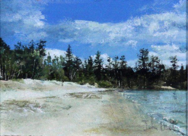 John Bell_Original_Acrylics_Beach at Kinloch Laggan_Image 5x6.5_Framed 10.5 x 12(2)