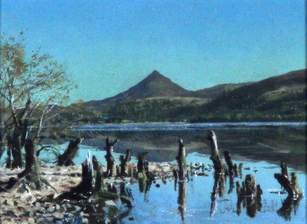 John Bell_Original_Acrylics_Schiehallion from Loch Rannoch_Image 5x6.5_Framed 10