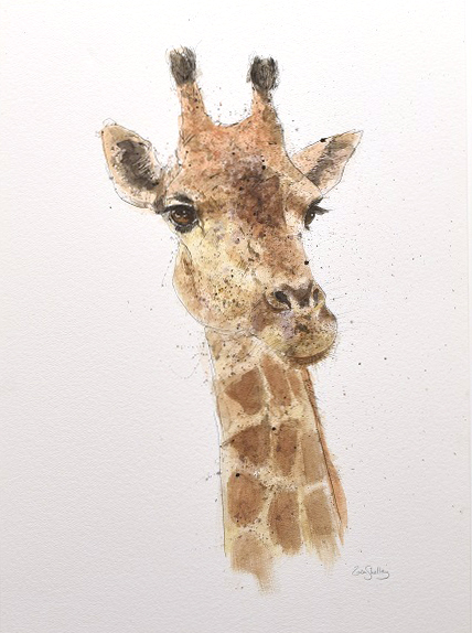 Zaza Shelley_Original_Watercolour_Girafee_image 20 x 29